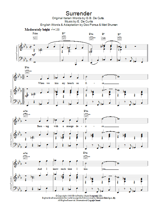 Elvis Presley Surrender sheet music notes and chords. Download Printable PDF.