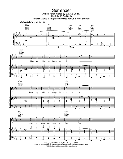 Elvis Presley Surrender sheet music notes and chords. Download Printable PDF.