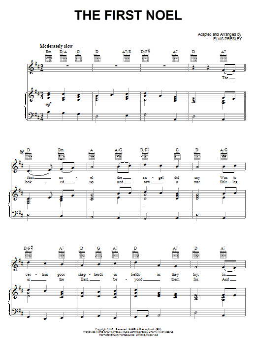 Elvis Presley The First Noel sheet music notes and chords. Download Printable PDF.