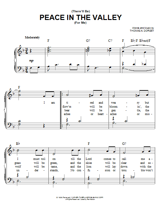 Elvis Presley There Will Be Peace In The Valley For Me sheet music notes and chords. Download Printable PDF.