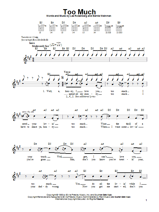 Elvis Presley Too Much sheet music notes and chords. Download Printable PDF.