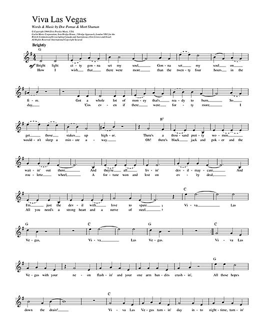 Elvis Presley Viva Las Vegas sheet music notes and chords. Download Printable PDF.