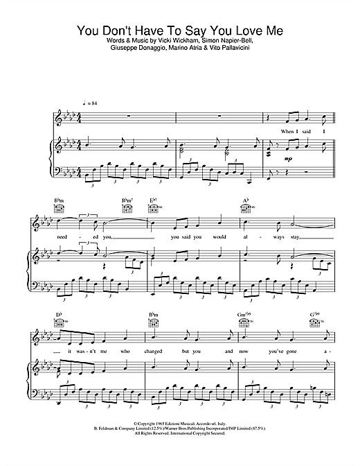 Elvis Presley You Don't Have To Say You Love Me sheet music notes and chords