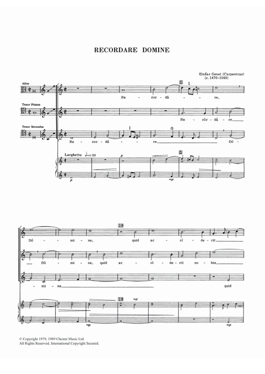 Elzear Genet Recordare Domine sheet music notes and chords