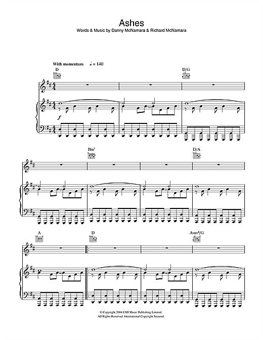 Embrace Ashes sheet music notes and chords