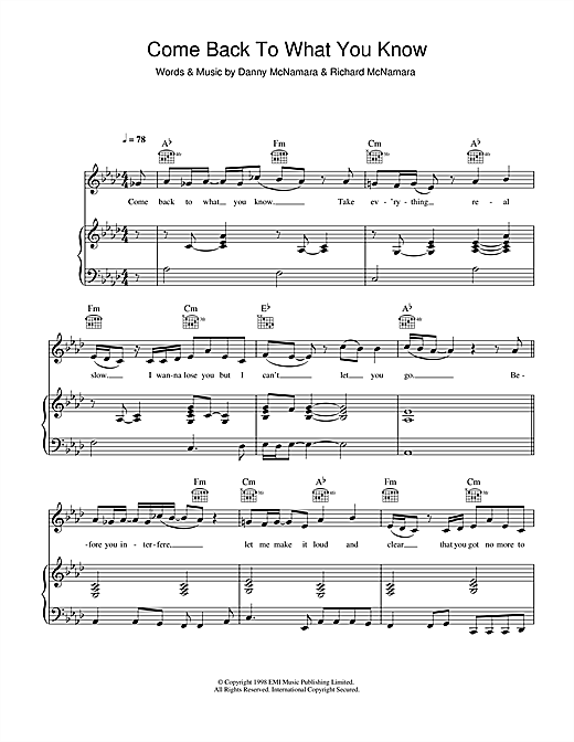 Embrace Come Back To What You Know sheet music notes and chords. Download Printable PDF.