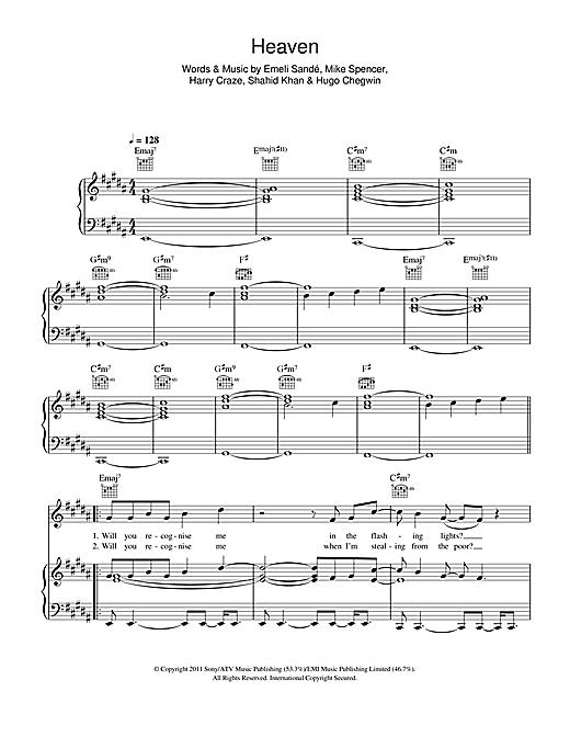 Emeli Sandé Heaven sheet music notes and chords