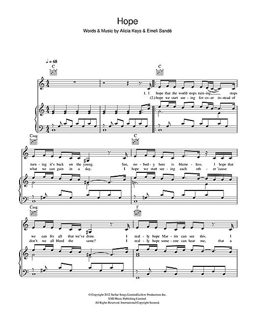 Emeli Sandé Hope sheet music notes and chords. Download Printable PDF.