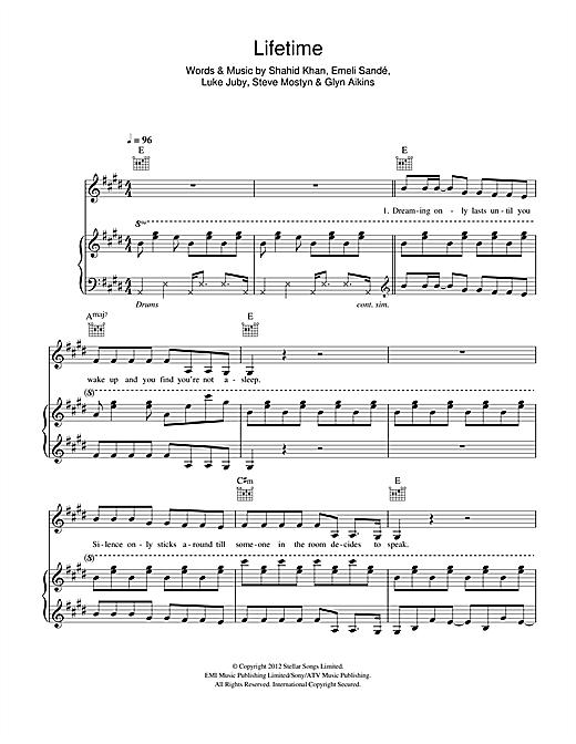 Emeli Sandé Lifetime sheet music notes and chords. Download Printable PDF.