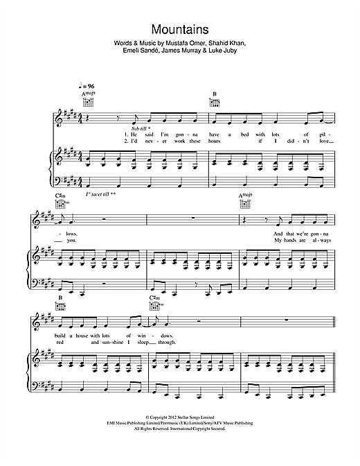 Emeli Sandé Mountains sheet music notes and chords. Download Printable PDF.
