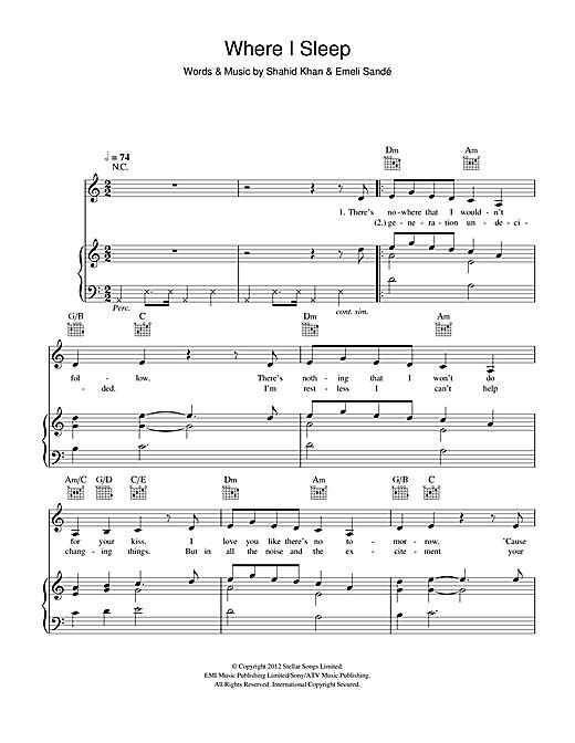 Emeli Sandé Where I Sleep sheet music notes and chords. Download Printable PDF.