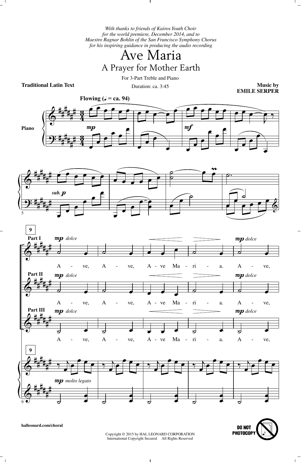 Emile Serper Ave Maria sheet music notes and chords. Download Printable PDF.