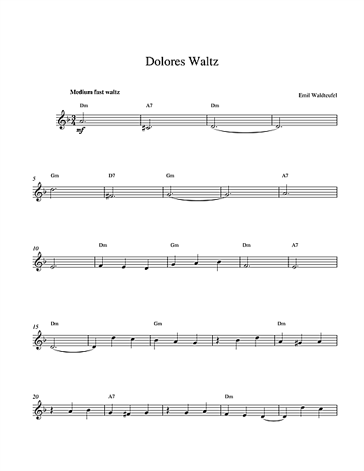 Emile Waldteufel Dolores Waltz sheet music notes and chords