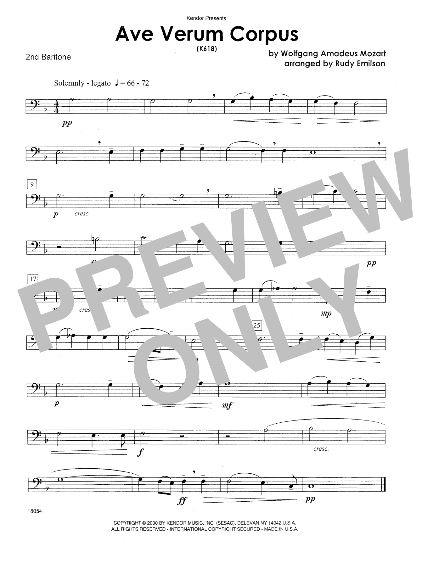 Emilson Ave Verum Corpus (K618) - 2nd Baritone T.C. sheet music notes and chords. Download Printable PDF.