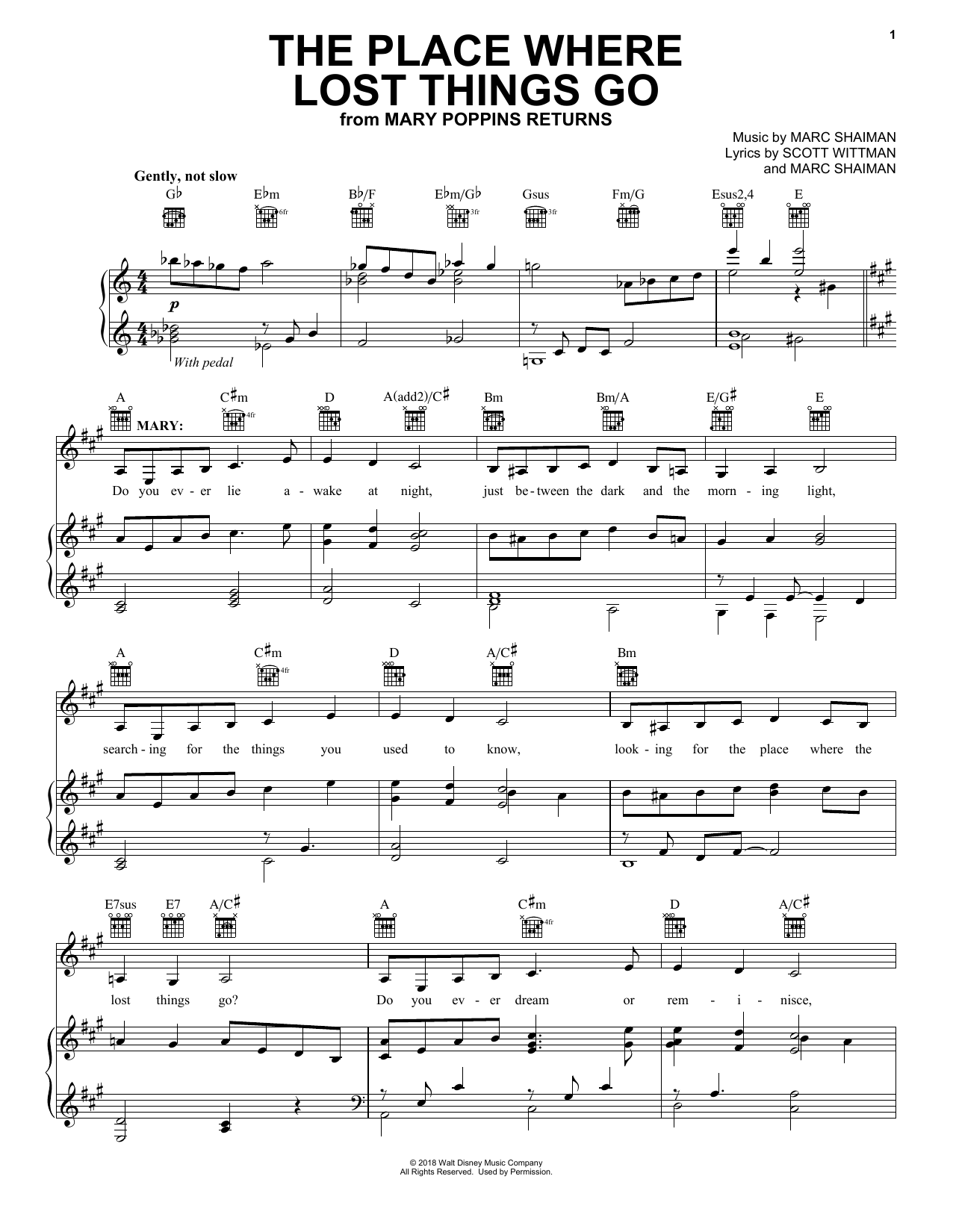 Emily Blunt The Place Where Lost Things Go (from Mary Poppins Returns) sheet music notes and chords