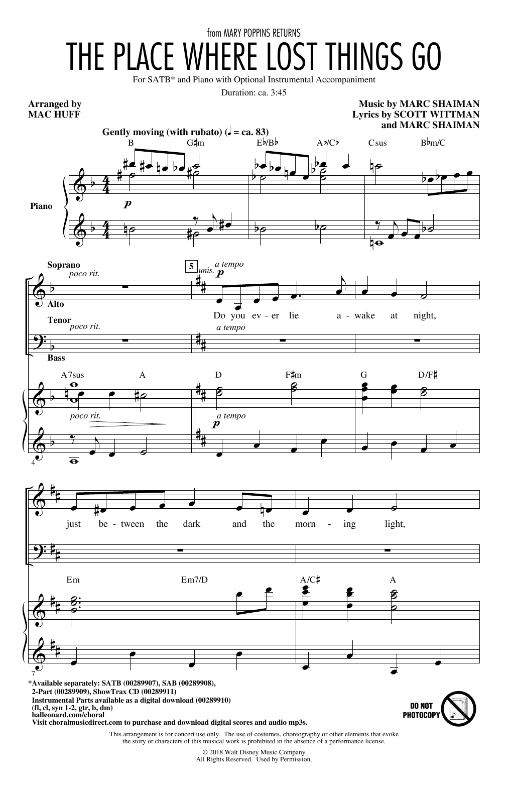 Emily Blunt The Place Where Lost Things Go (from Mary Poppins Returns) (arr. Mac Huff) sheet music notes and chords. Download Printable PDF.