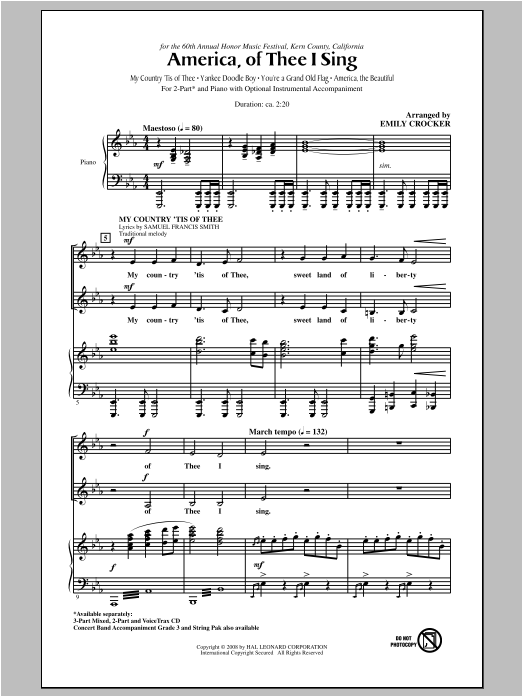 Emily Crocker America, Of Thee I Sing sheet music notes and chords. Download Printable PDF.