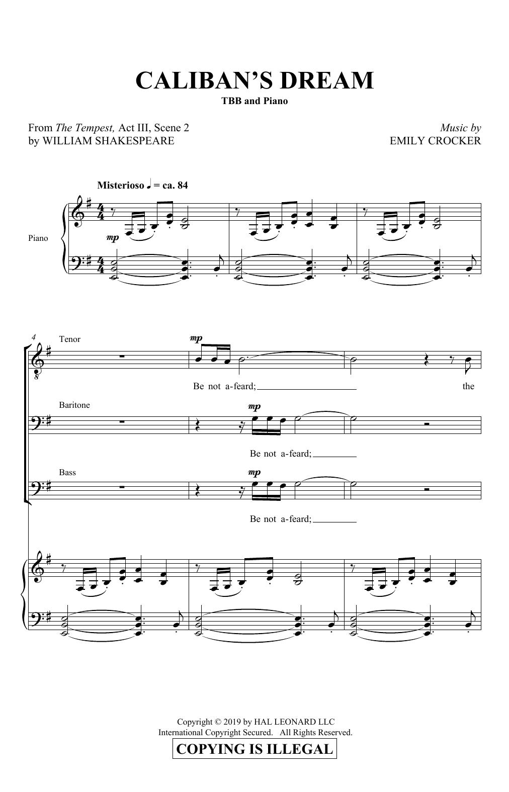 Emily Crocker Caliban's Dream sheet music notes and chords. Download Printable PDF.