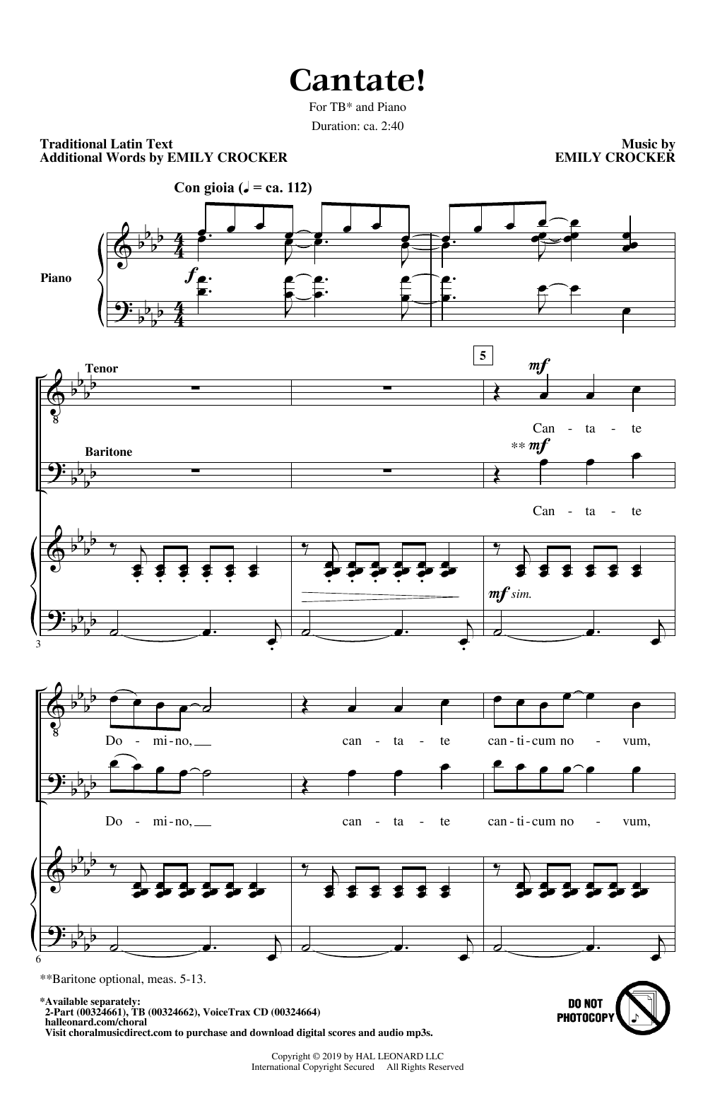 Emily Crocker Cantate! sheet music notes and chords. Download Printable PDF.