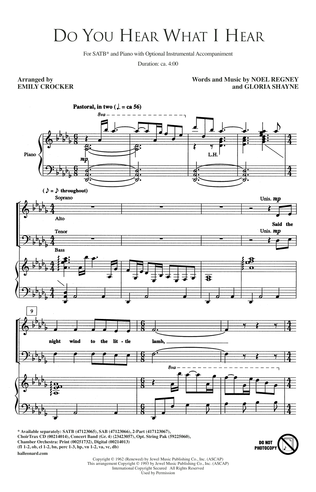 Emily Crocker Do You Hear What I Hear sheet music notes and chords. Download Printable PDF.