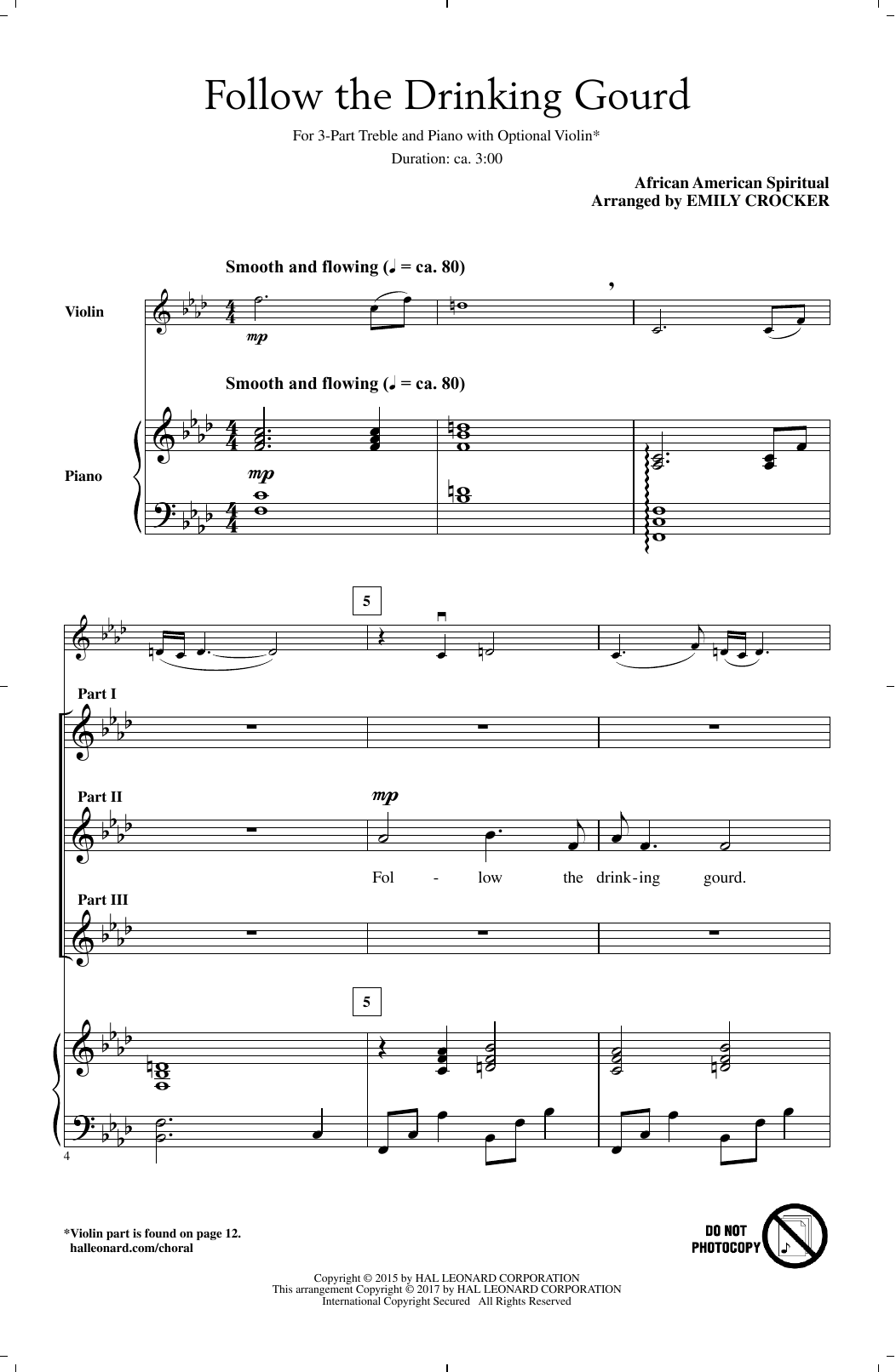 Emily Crocker Follow The Drinkin' Gourd sheet music notes and chords. Download Printable PDF.
