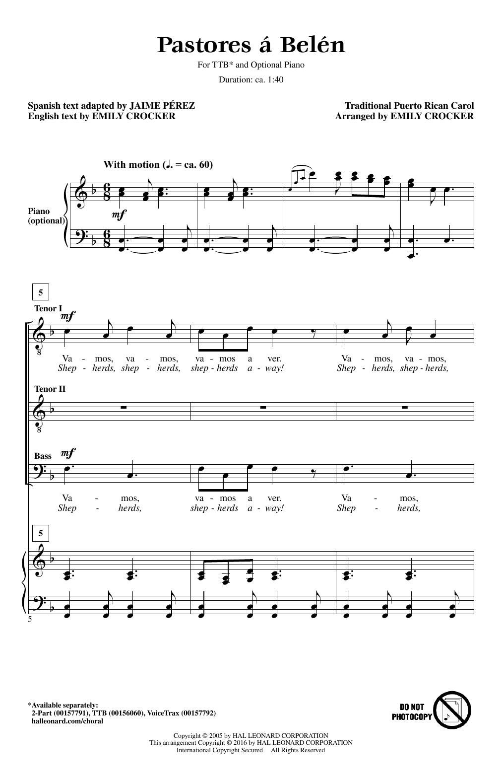 Emily Crocker Pastores A Belen sheet music notes and chords. Download Printable PDF.