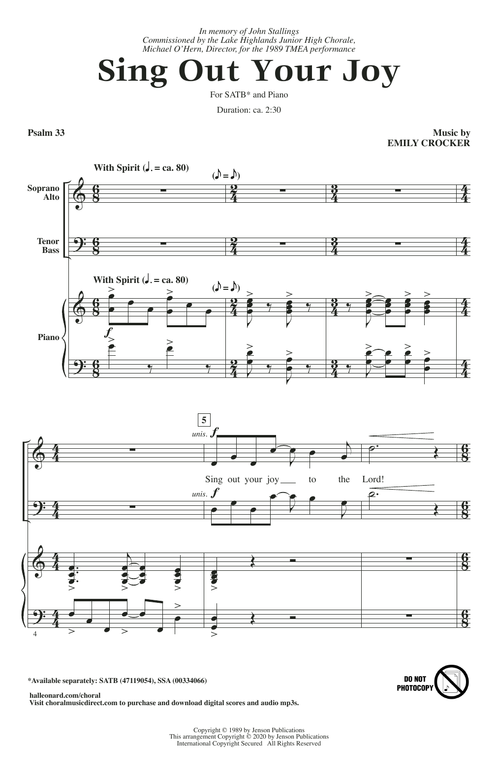 Emily Crocker Sing Out Your Joy sheet music notes and chords. Download Printable PDF.