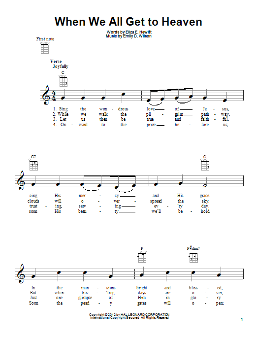 Emily D. Wilson When We All Get To Heaven sheet music notes and chords. Download Printable PDF.