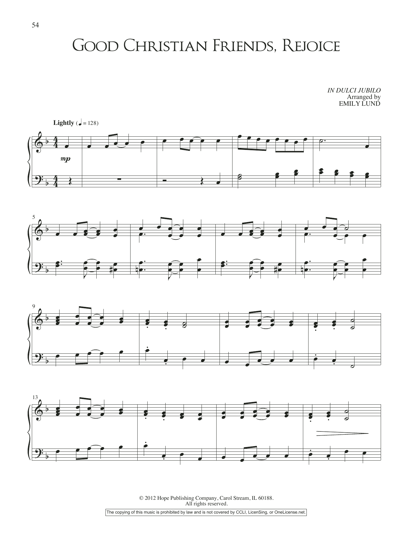 Emily Lund Good Christian Friends, Rejoice sheet music notes and chords. Download Printable PDF.