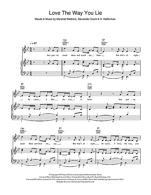 Eminem Love The Way You Lie (feat. Rihanna) sheet music notes and chords. Download Printable PDF.