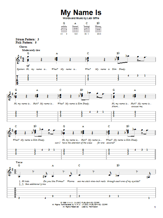 Eminem My Name Is sheet music notes and chords. Download Printable PDF.