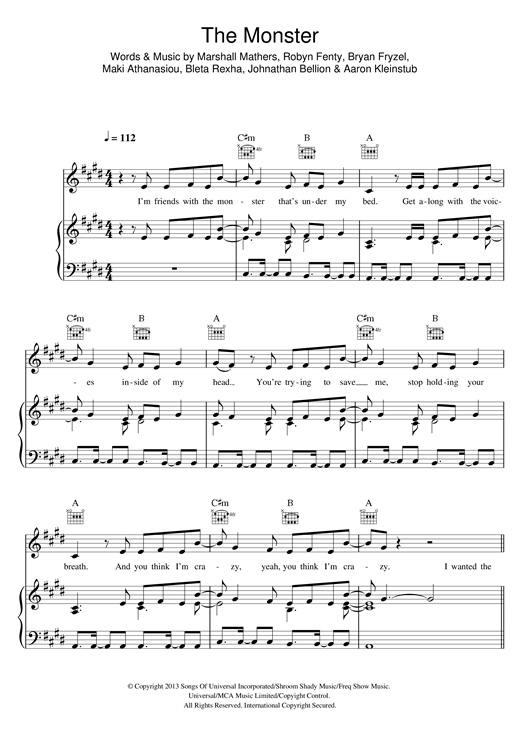 Eminem The Monster (feat. Rihanna) sheet music notes and chords. Download Printable PDF.