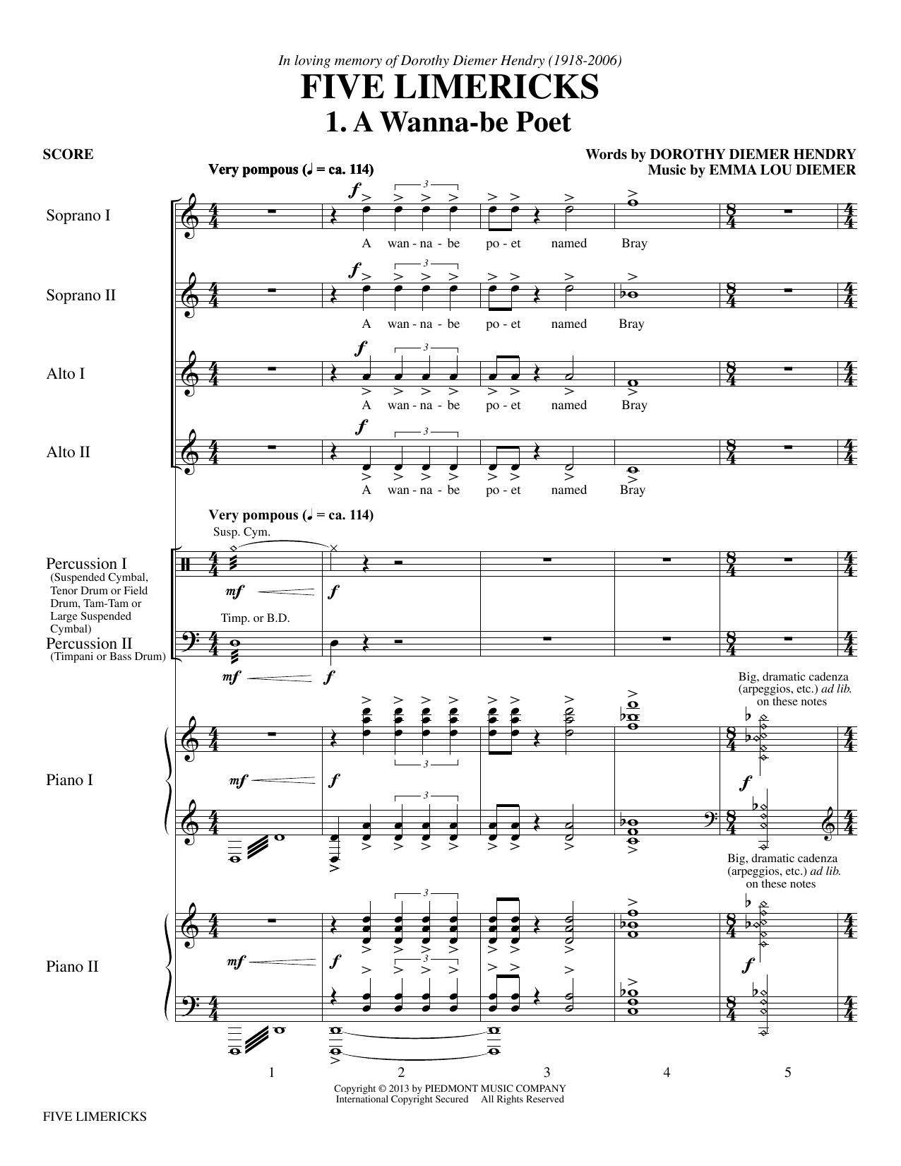 Emma Lou Diemer Five Limericks sheet music notes and chords. Download Printable PDF.