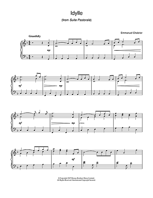 Emmanuel Chabrier Idylle (from Suite Pastorale) sheet music notes and chords. Download Printable PDF.
