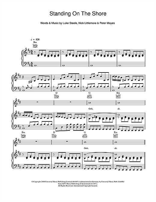 Empire Of The Sun Standing On The Shore sheet music notes and chords. Download Printable PDF.
