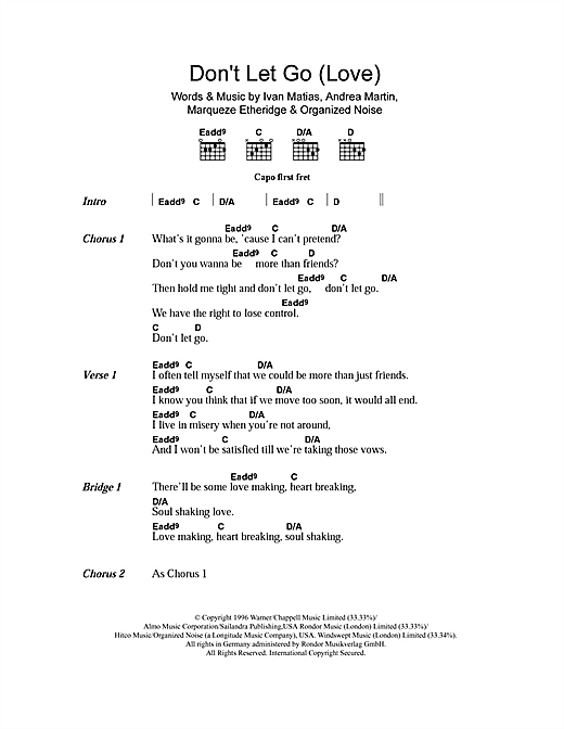 En Vogue Don't Let Go (Love) sheet music notes and chords. Download Printable PDF.