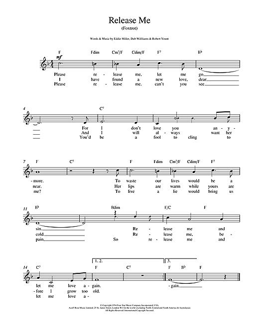 Engelbert Humperdinck Release Me sheet music notes and chords