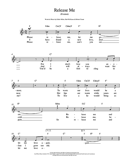 Engelbert Humperdinck Release Me sheet music notes and chords. Download Printable PDF.