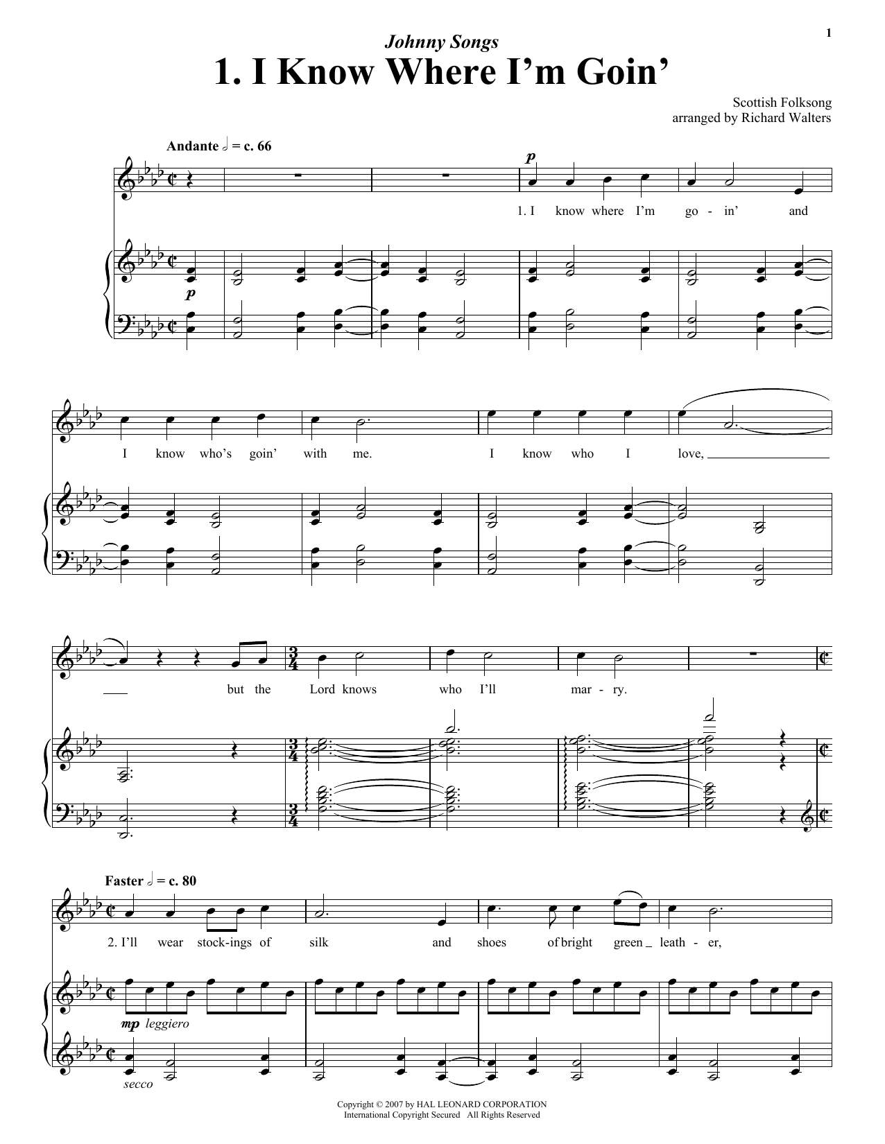 Traditional English I Know Where I'm Goin' sheet music notes and chords. Download Printable PDF.