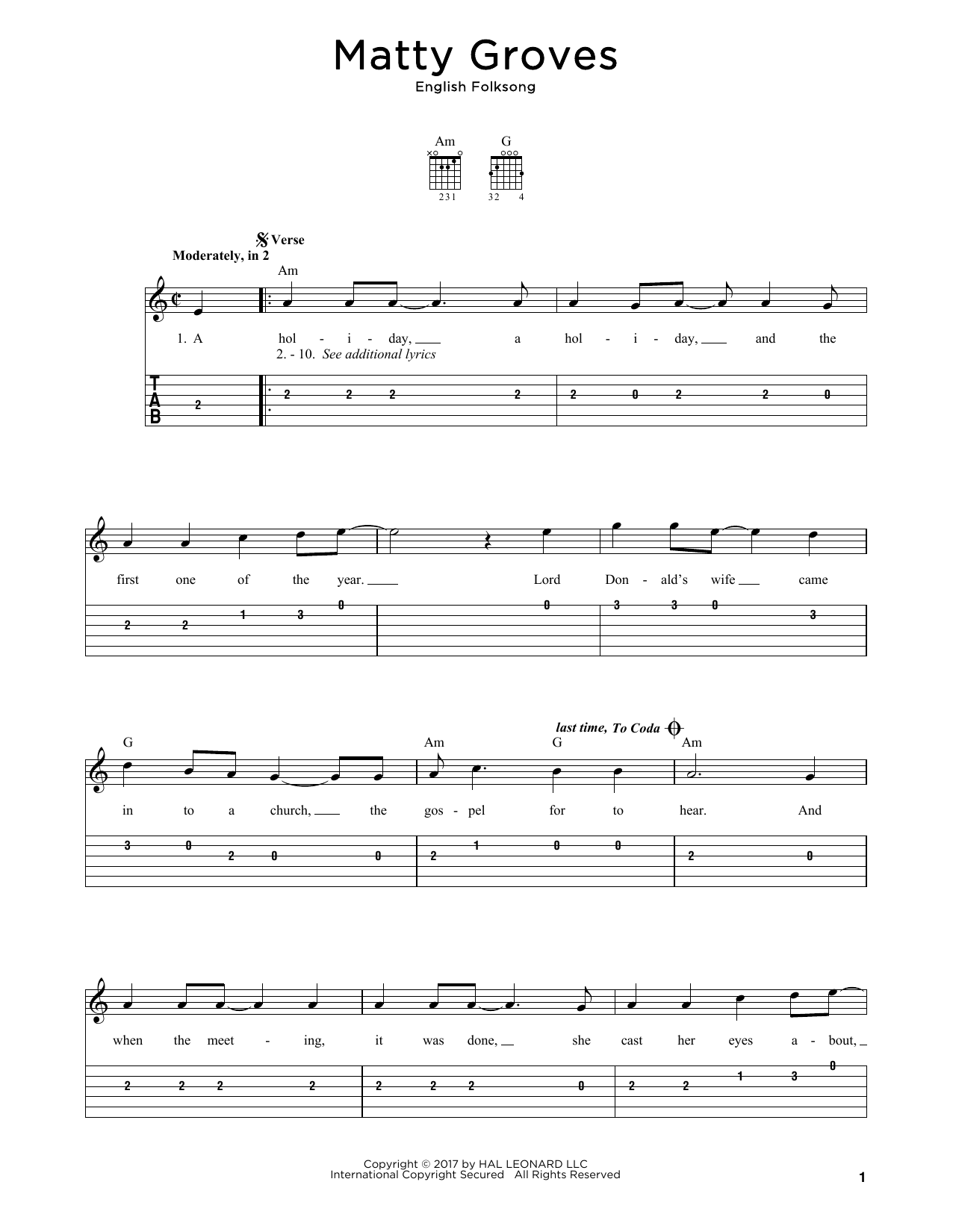 English Folksong Matty Groves sheet music notes and chords. Download Printable PDF.