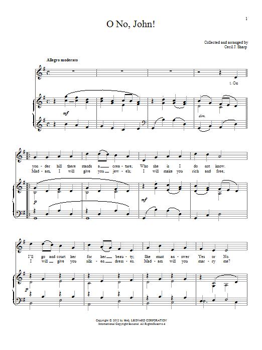 Traditional English Folksong O No, John! sheet music notes and chords. Download Printable PDF.