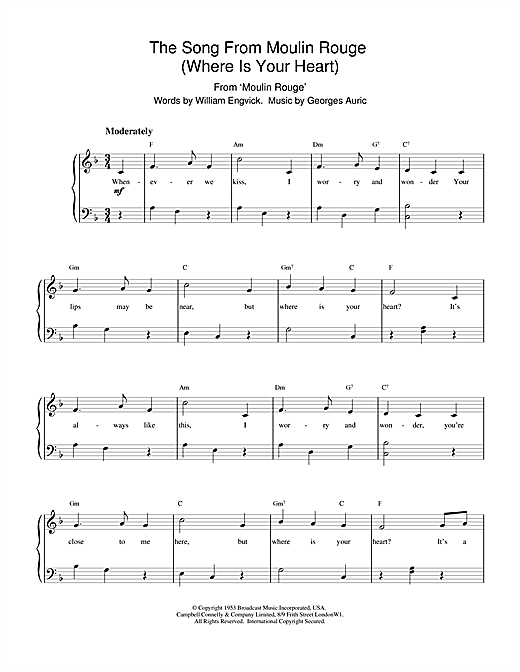 Engvick & Auric Where Is Your Heart (from Moulin Rouge) sheet music notes and chords