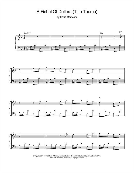 Ennio Morricone A Fistful of Dollars (Title Theme) sheet music notes and chords. Download Printable PDF.
