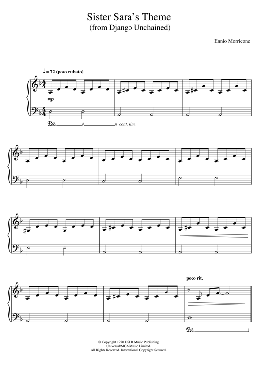 Ennio Morricone Sister Sara's Theme (Django Unchained) sheet music notes and chords