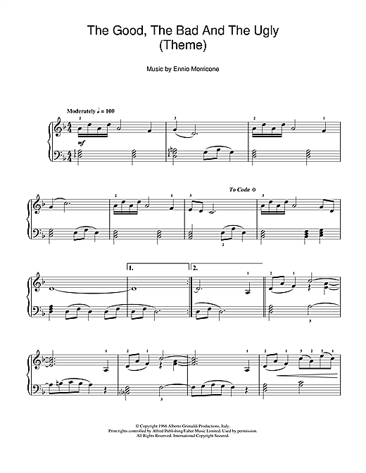 Ennio Morricone The Good, The Bad And The Ugly (Theme) sheet music notes and chords. Download Printable PDF.