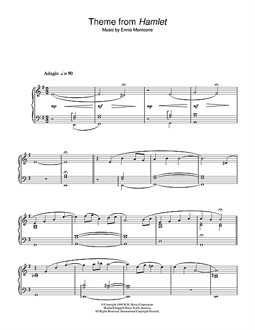 Ennio Morricone Theme from Hamlet sheet music notes and chords. Download Printable PDF.