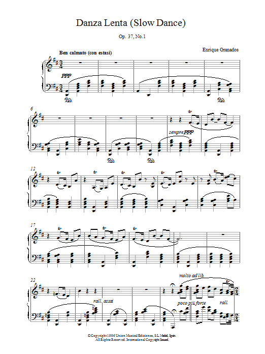 Granados Danza Lenta Op37 No1 sheet music notes and chords. Download Printable PDF.