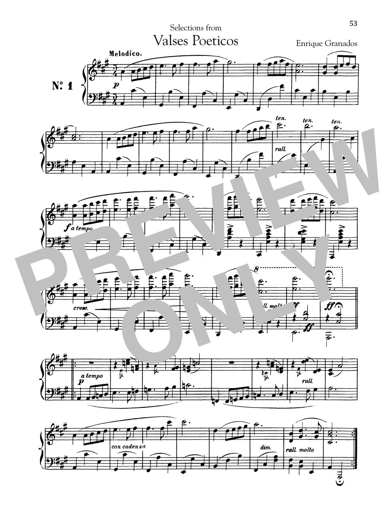Enrique Granados Melodico sheet music notes and chords. Download Printable PDF.