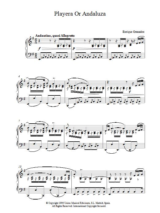 Granados Playera Or Andaluza sheet music notes and chords. Download Printable PDF.
