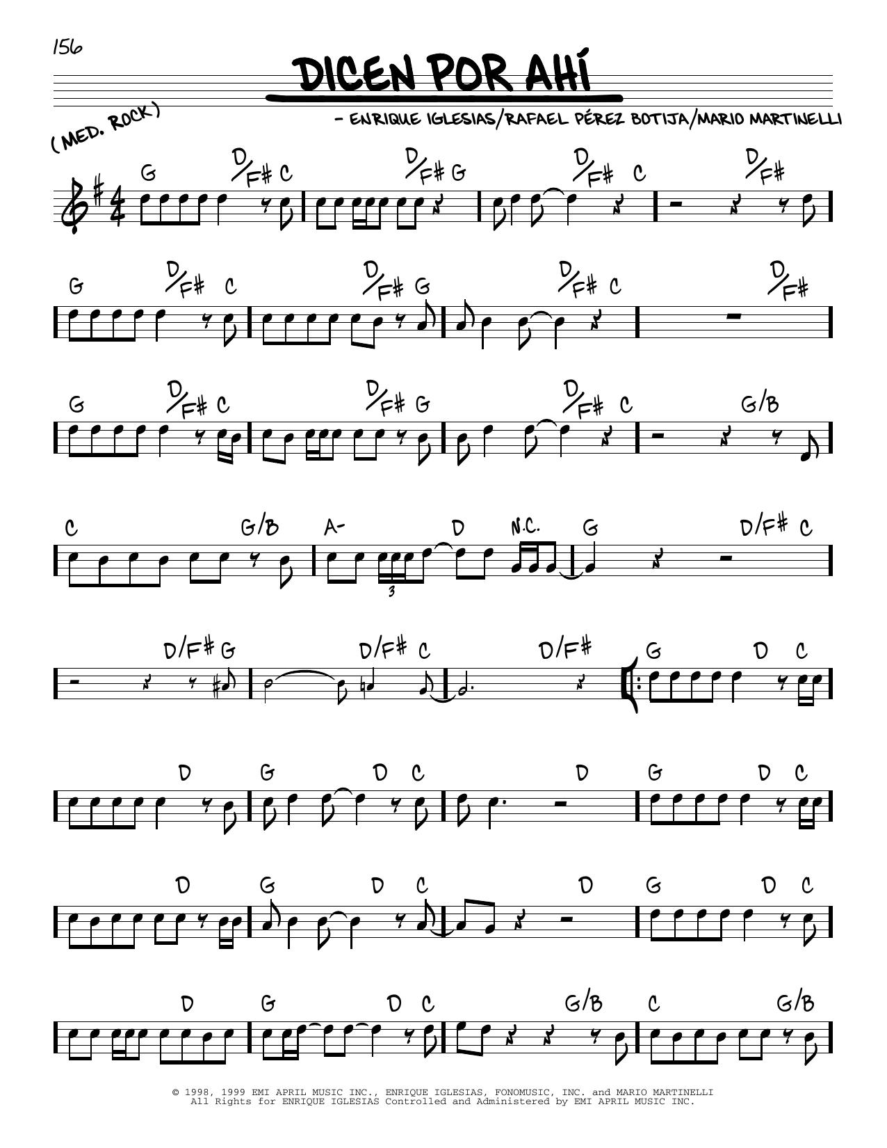 Enrique Iglesias Dicen Por Ahi sheet music notes and chords. Download Printable PDF.